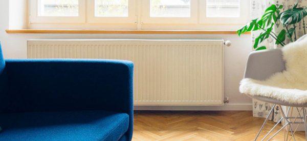Radiador de caldera en salón